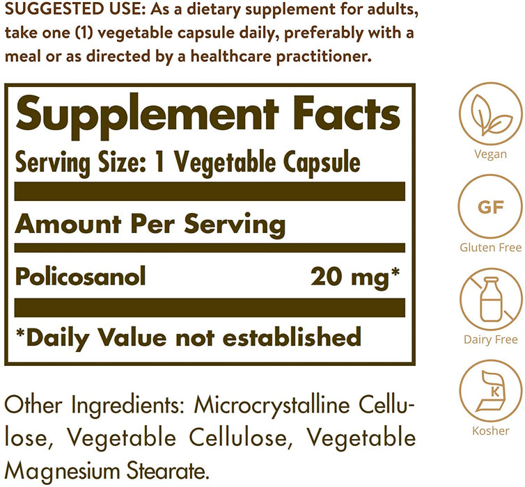 Solgar- Policosanol 20 mg Vegetable Capsules- 100