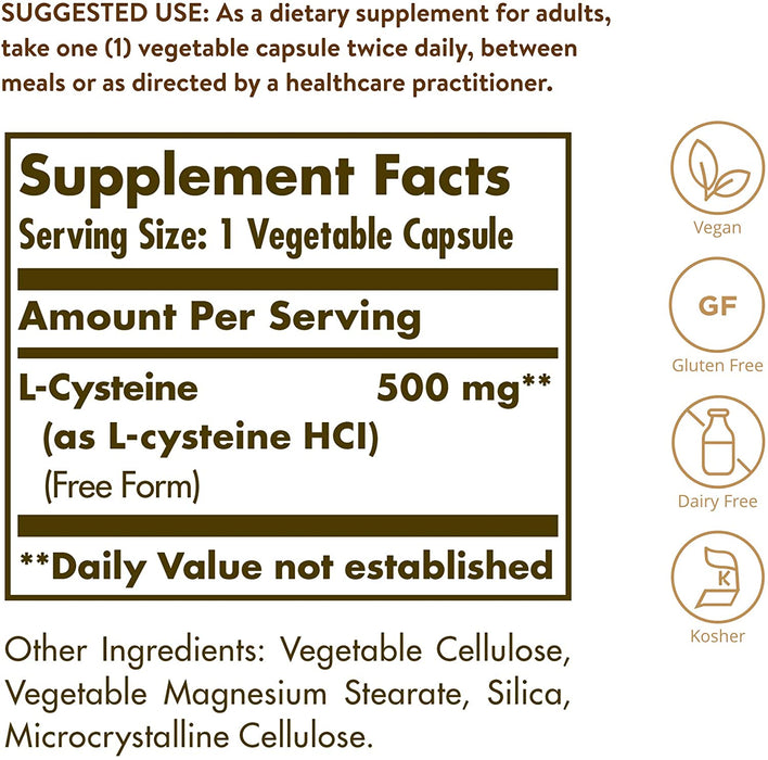 solgar l cysteine 500 mg vegetable capsules 90
