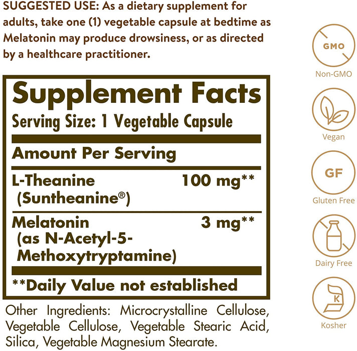 solgar sweetest dreams vegetable capsules supplying l theanine and melatonin 30