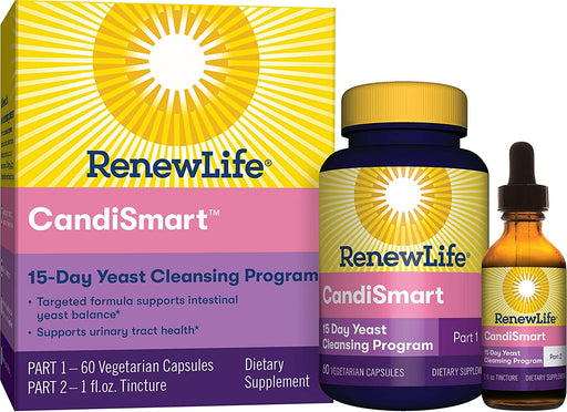 Renew Life - CandiSmart 2 part, 15 day cleanse 60ct + 1 fl oz