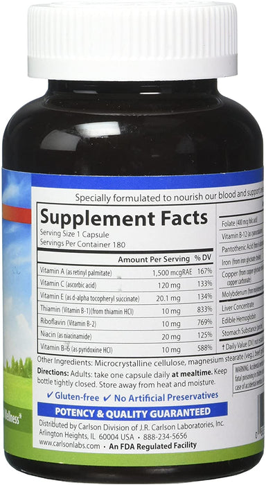 Carlson-Blood Nutrients®, 180 Capsules