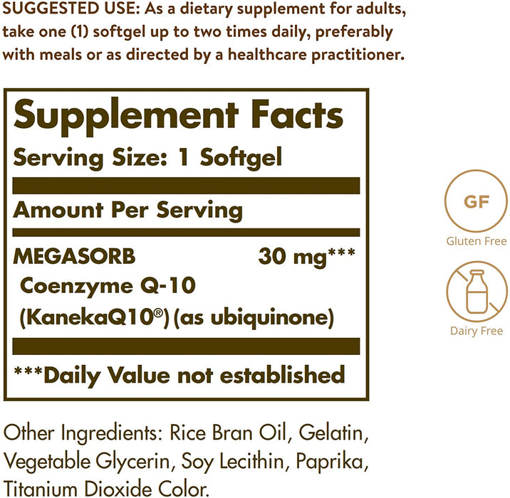 Solgar- Megasorb CoQ-10 30 mg Softgels- 120