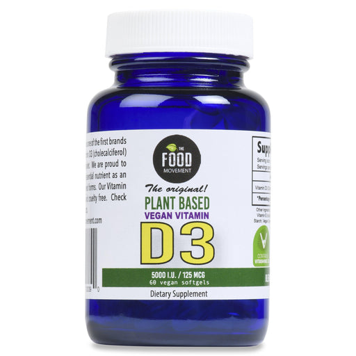 The Food Movement - Vegan Vitamin D3 - 60 Softgels
