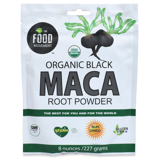The Food Movement - Black Maca Root Powder |Organic Peruvian Super Food - 8 oz