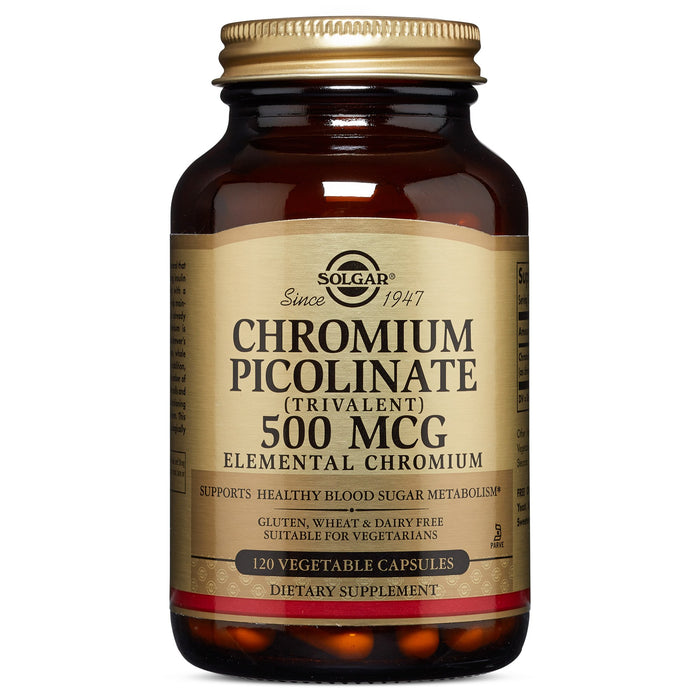Solgar- Chromium Picolinate 500 mcg Vegetable Capsules- 120
