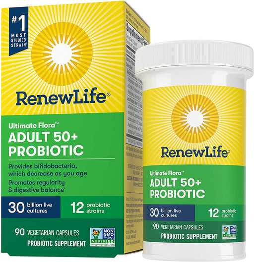 Renew Life Adult 50+ Probiotic, Ultimate Flora, 30 Billion, 90 Capsules