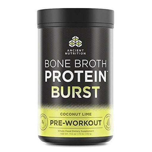 Ancient Nutrition Bone Broth Protein BURST Pre-Workout Energizer, Coconut Lime Flavor, 30 Servings Size
