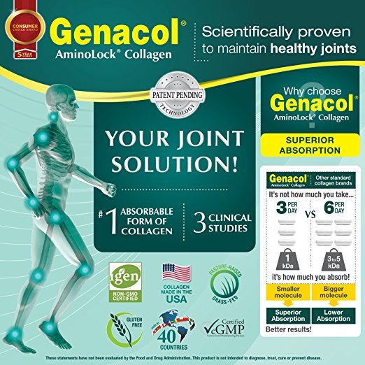 GENACOL Collagen (90 Capsules) Joint Care Supplement and Joint support for Back, Knees and Hands. CERTIFIED Non-GMO, Pasture Raised, Grass-Fed collagen hydrolysate protein