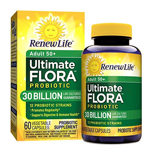 Renew Life Adult 50+ Probiotic, Ultimate Flora, 30 Billion, 60 Capsules