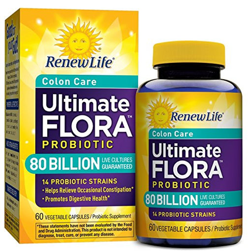 Renew Life Colon Care Probiotic, Ultimate Flora, 80 Billion, 60 Capsules