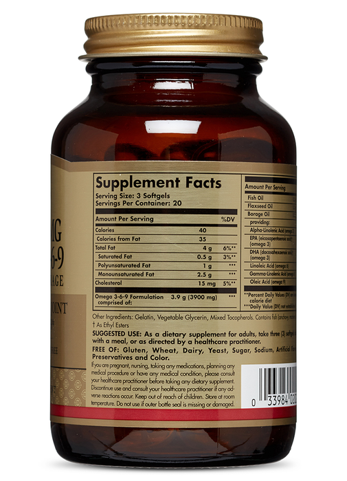 Solgar- 1300 mg Omega 3-6-9 Softgels- 120