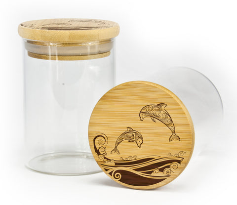 Dolphins Jumping Design Stash Jar