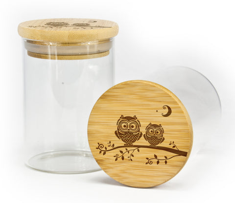 Double Owl Design Stash Jar