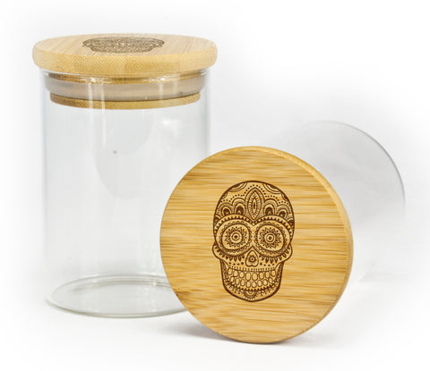Floral Skull Design Stash Jar