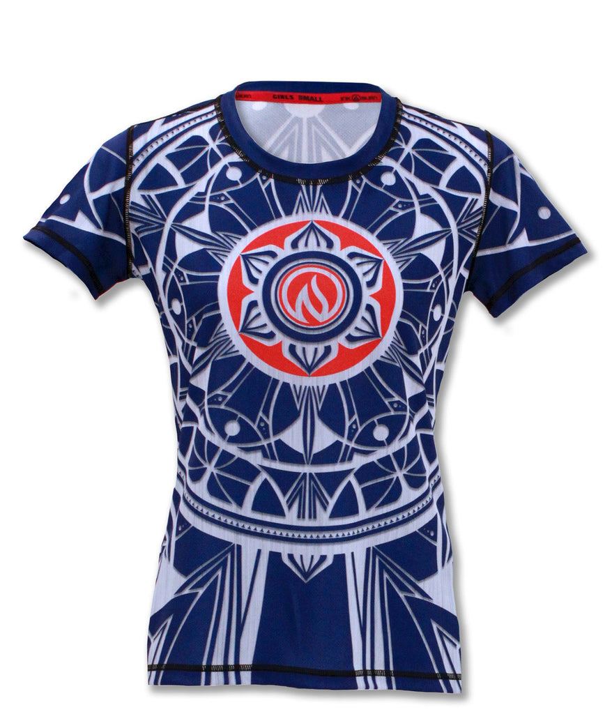 Girl's Blue Healing Mandala Tech Shirt
