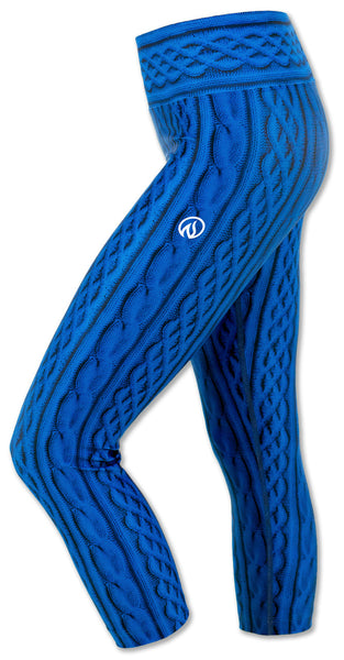 Women's Blue Cable Knit Capris