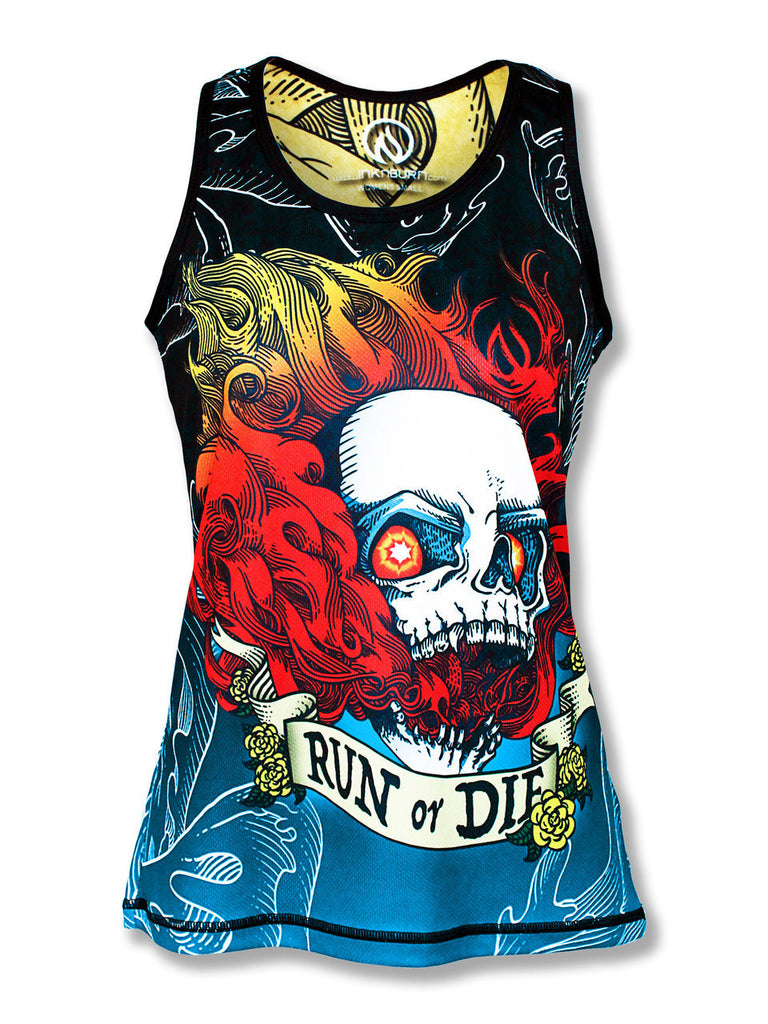 Women's RUN OR DIE FIRE SKULL - シングレット