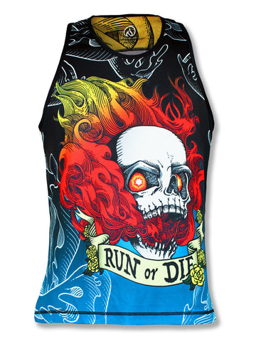 Men's  RUN OR DIE FIRE SKULL - シングレット