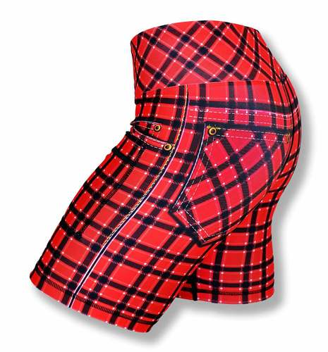 "Women's RED PLAID  6""- ハーフパンツ"