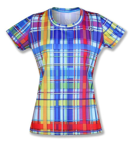 【Size M】Women's  RAINBOW PLAID - テックTシャツ