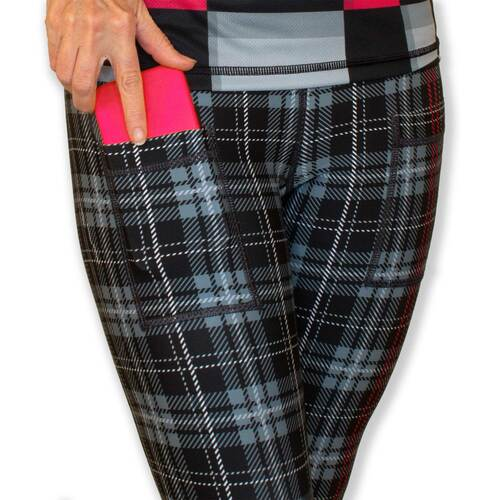 Women's  BLACK PLAID PINK POP  - カプリーズレギンス