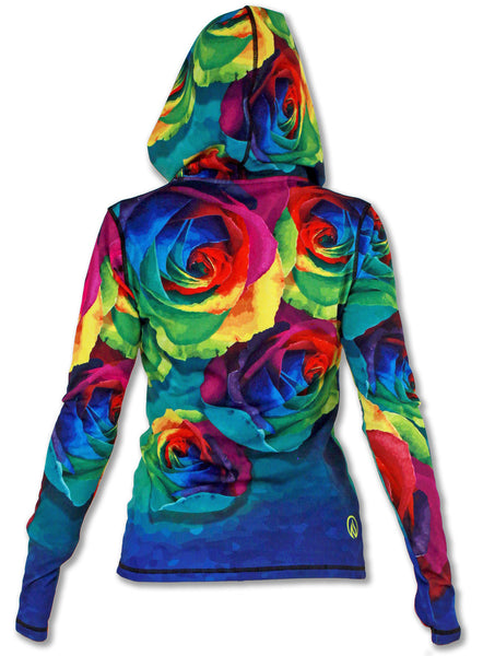 Women's Rose Full Zip Hoodie with Thumbholes