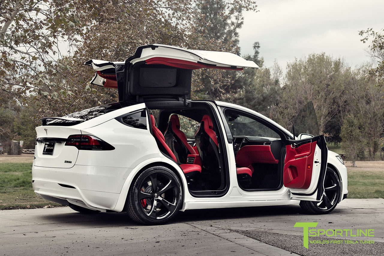 Project TSX7 - 2016 Tesla Model X P90D Ludicrous - Custom Bentley Red Interior - 22 inch MX5 Forged Wheels in Gloss Black 2