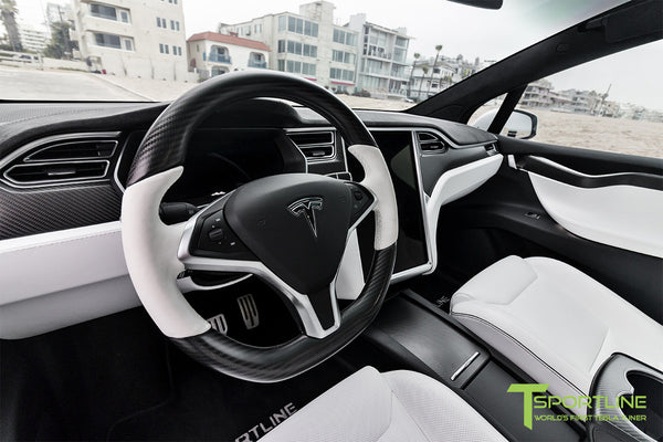 Project White X - 2016 Tesla Model X P90D Ludicrous - White Interior - Carbon Fiber Steering Wheel 2