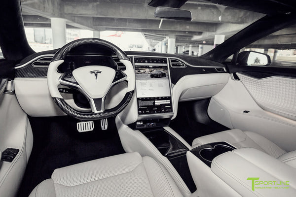 Tesla Model S 2.0 with Gloss Carbon Fiber Dash Kit in Bentley Linen Interior by T Sportline 2
