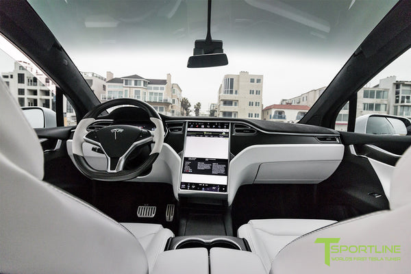 Project White X - 2016 Tesla Model X P90D Ludicrous - White Interior - Carbon Fiber Steering Wheel 1
