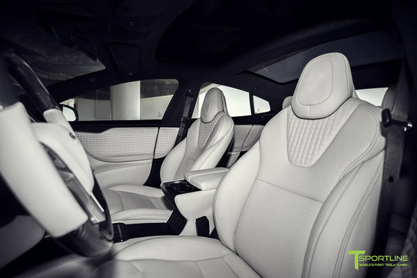 Project Malibu - Model S (2016 Facelift) - Custom Interior Bentley Linen - Gloss Carbon Fiber Dashboard - Steering Wheel - Center Console - Seatbacks by T Sportline 12