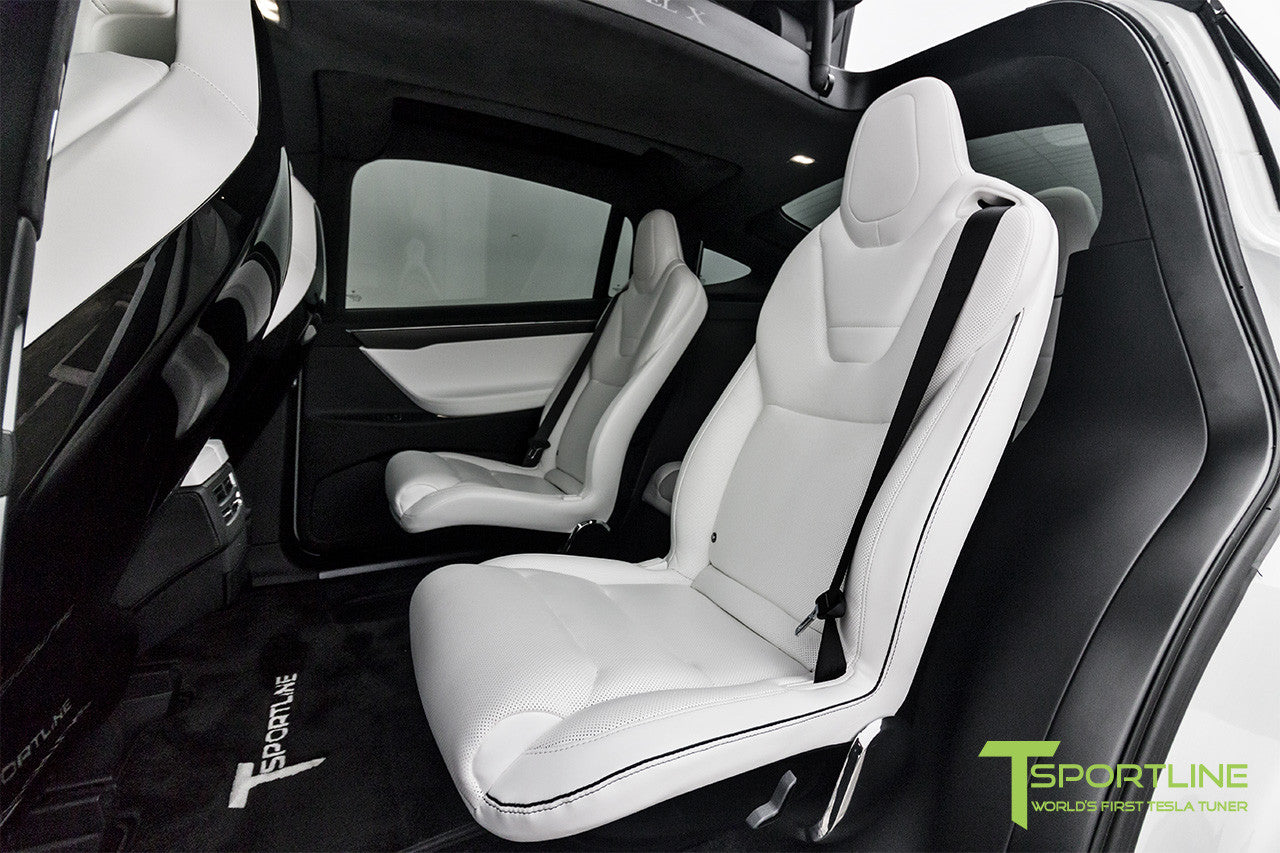 Project White X - 2016 Tesla Model X P90D Ludicrous - White Interior - White Horizontal Logo Floor Mats 5