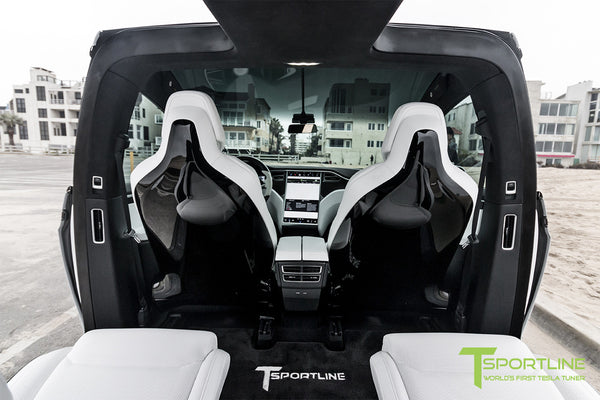 Project White X - 2016 Tesla Model X P90D Ludicrous - White Interior - White Horizontal Logo Floor Mats 4