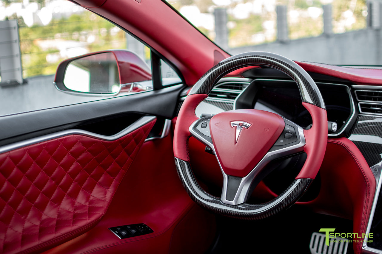 Tesla Model S with Gloss Carbon Fiber Steering Wheel in Bentley Red Custom Interior by T Sportline 1