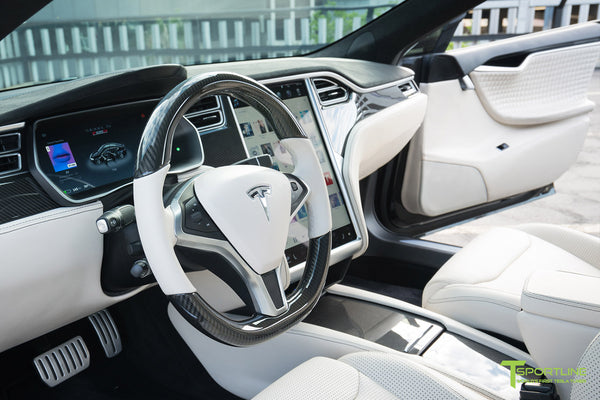 Tesla Model S with Gloss Carbon Fiber Steering Wheel in Bentley Linen Custom Interior by T Sportline 1