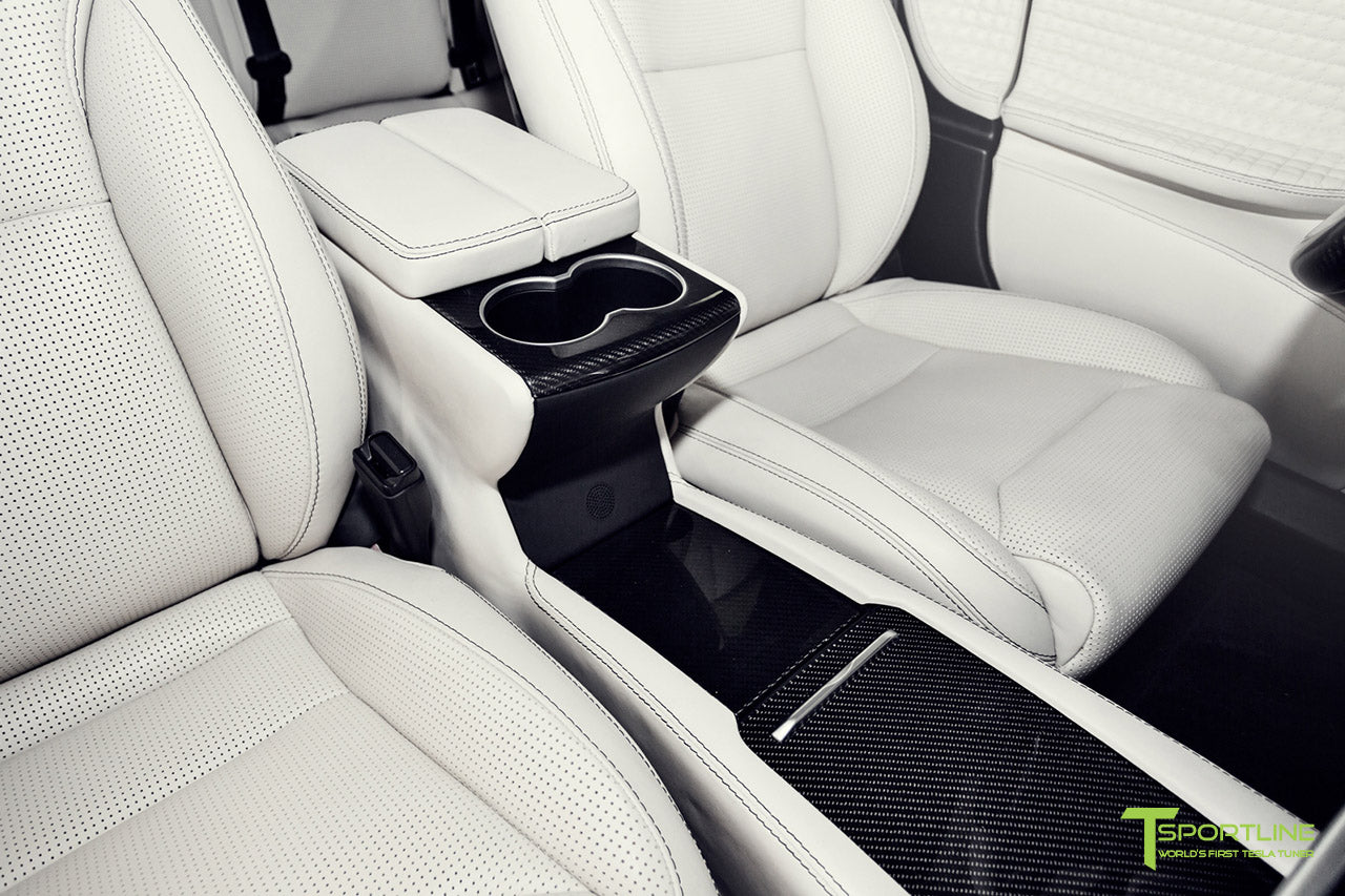 Tesla Model S 2.0 with Gloss Carbon Fiber Dash Kit in Bentley Linen Interior by T Sportline 1