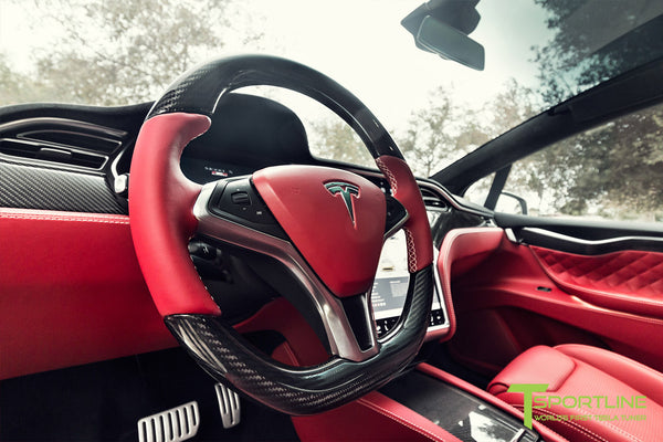 Project TSX7 - Tesla Model X P90D - Custom Bentley Red Interior - Carbon Fiber Dash Kit - Dashboard - Steering Wheel by T Sportline 9