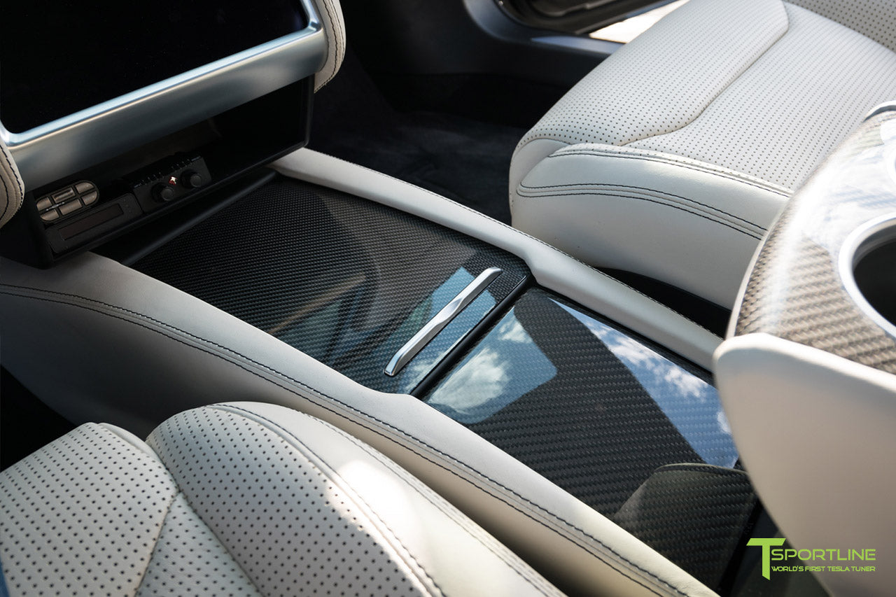 Tesla Model S with Gloss Carbon Fiber Center Console in Bentley Linen Custom Interior by T Sportline 1