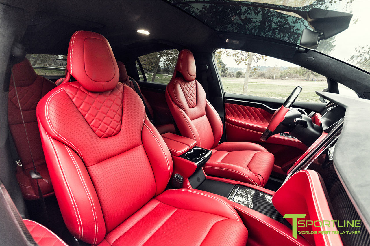 Project TSX7 - 2016 Tesla Model X P90D Ludicrous - Custom Bentley Red Interior - Carbon Fiber Dash Kit, Center Console, and Steering Wheel 1
