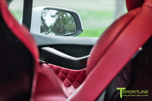 Project TSX7 - Tesla Model X P90D - Custom Bentley Red Interior - Carbon Fiber Dash Kit - Dashboard - Steering Wheel by T Sportline 7