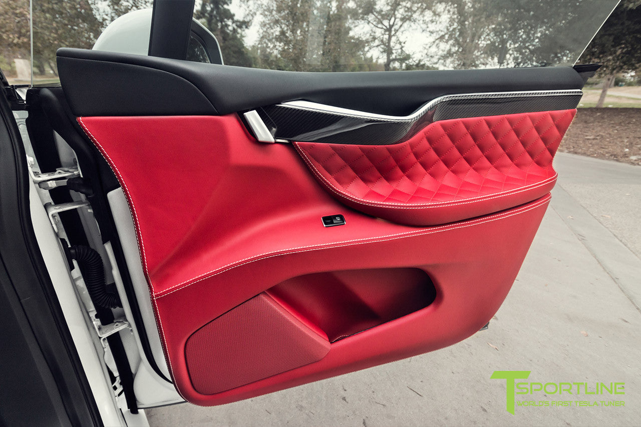Project TSX7 - 2016 Tesla Model X P90D Ludicrous - Custom Bentley Red Interior - Carbon Fiber Dash Kit 2