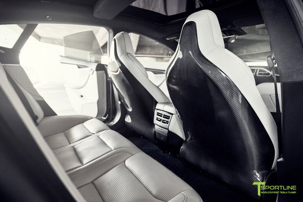 Project Malibu - Model S (2016 Facelift) - Custom Interior Bentley Linen - Gloss Carbon Fiber Dashboard - Steering Wheel - Center Console - Seatbacks by T Sportline 7