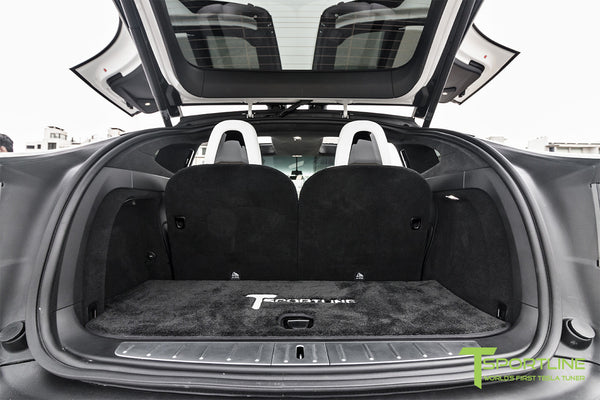 Project White X - 2016 Tesla Model X P90D Ludicrous - White Interior - White Horizontal Logo Floor Mats 2