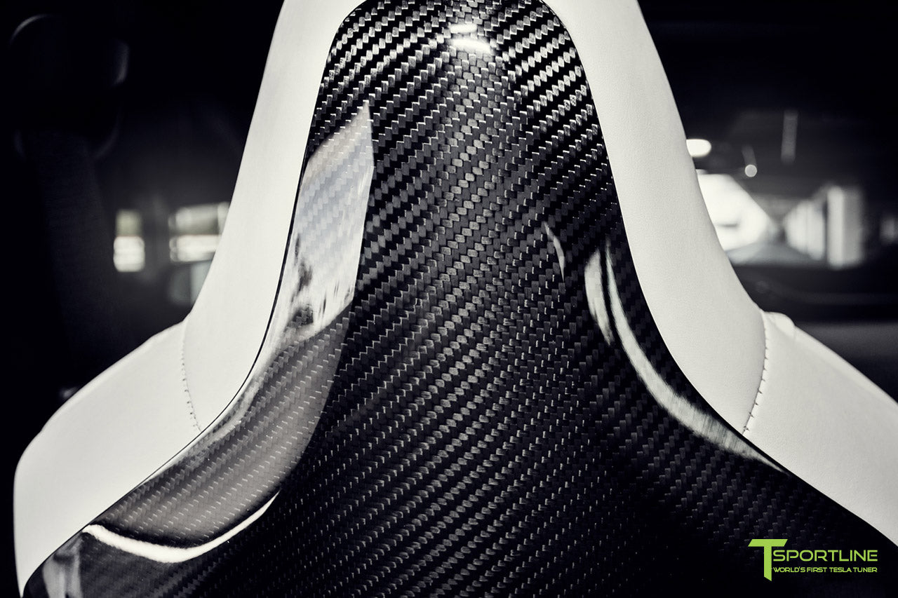 Tesla Model S 2.0 with Gloss Carbon Fiber Seatbacks by T Sportline 2