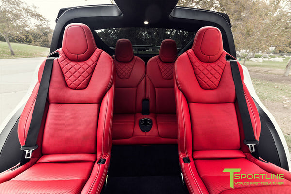 Project TSX7 - 2016 Tesla Model X P90D Ludicrous - Custom Bentley Red Interior 3