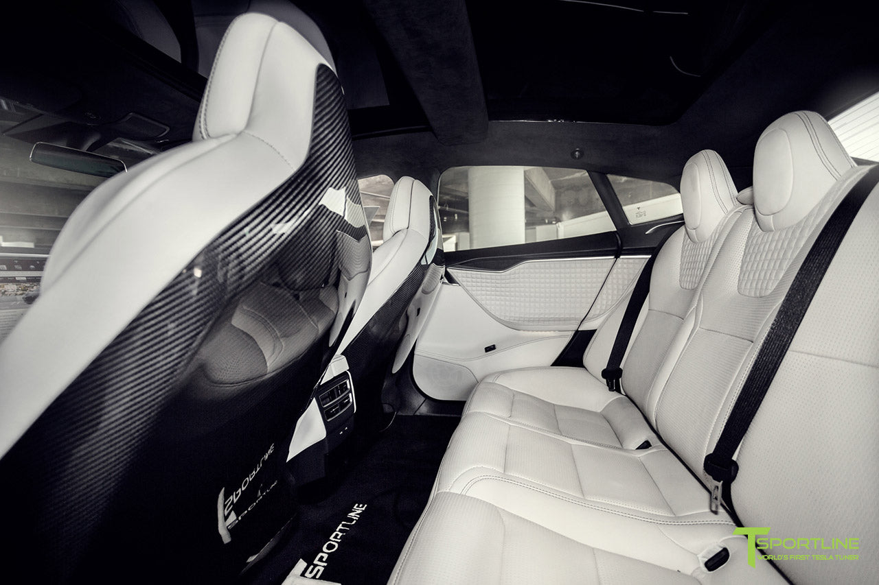 Tesla Model S 2.0 with Gloss Carbon Fiber Seatbacks by T Sportline 1