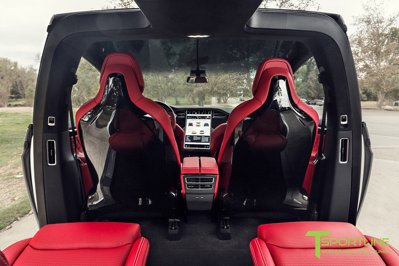 Project TSX7 - Tesla Model X P90D - Custom Bentley Red Interior - Carbon Fiber Dash Kit - Dashboard - Steering Wheel by T Sportline 3