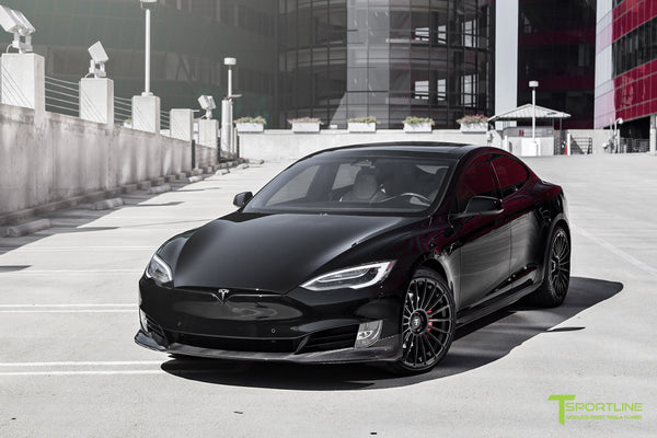 Black Model S with Matte Black TS118 21 inch Forged Tesla Wheels in Matte Black by T Sportline 4