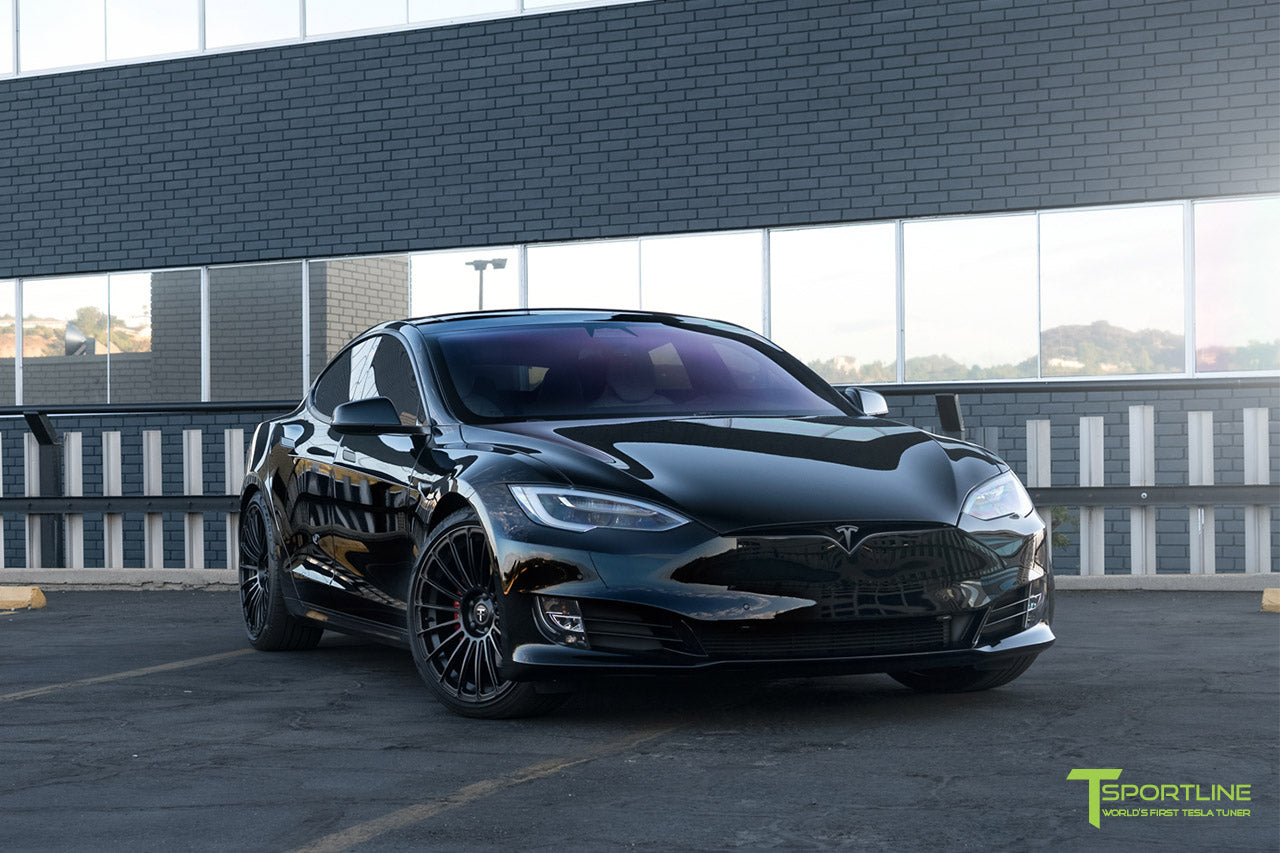 "Black Tesla Model S with 21"" Forged Wheels Matte Black and Custom Interior Upgrade in Bentley Linen"