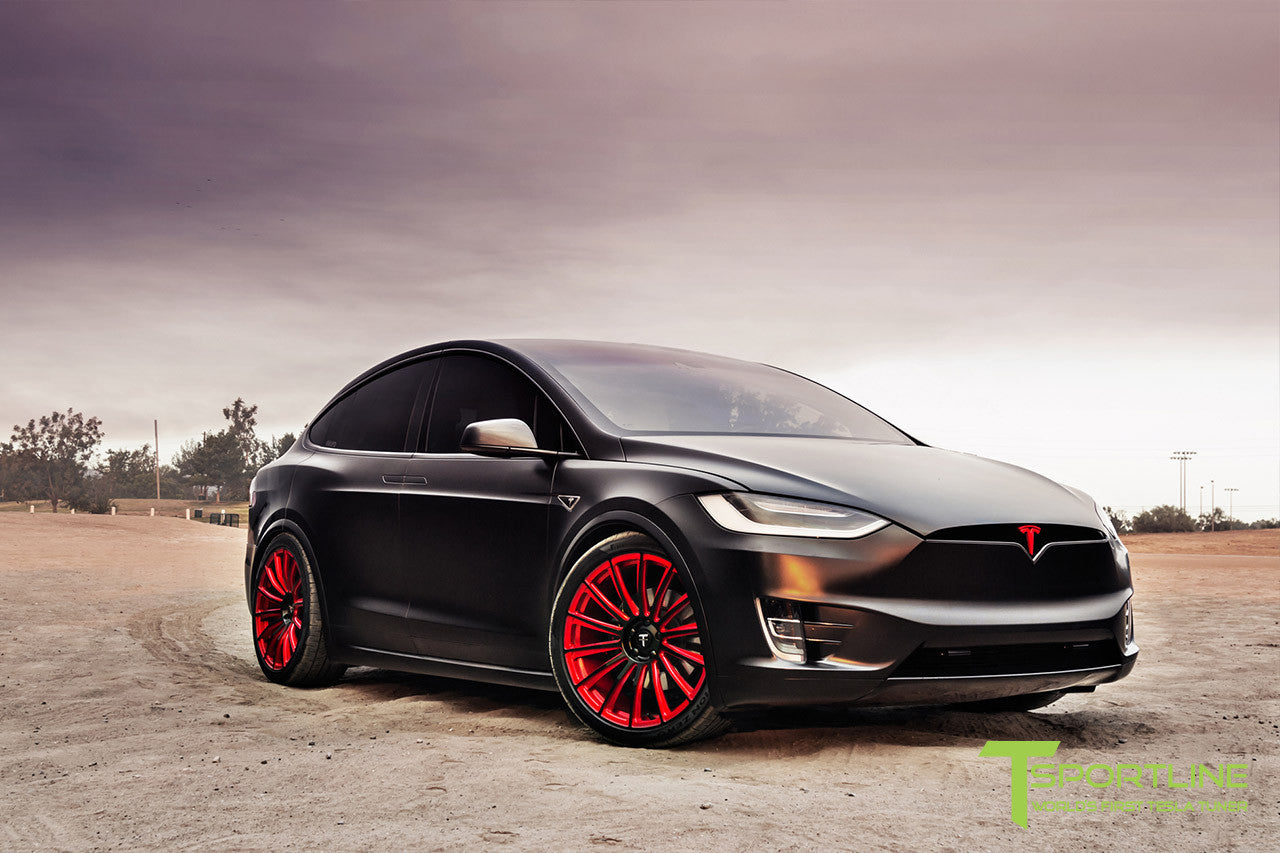 Project T-Rex - 2016 Tesla Model X P90D Ludicrous - White Interior - 22 Inch MX114 Forged Wheels in Velocity Red 8
